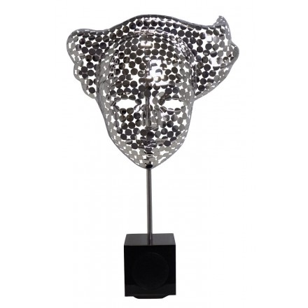 Statue sculpture décorative design enceinte Bluetooth THE MASK en Aluminium (Argent)