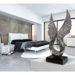 Statue dekorative Skulptur Design schwangere Bluetooth ANGELA WINGS in Aluminium (Silber)