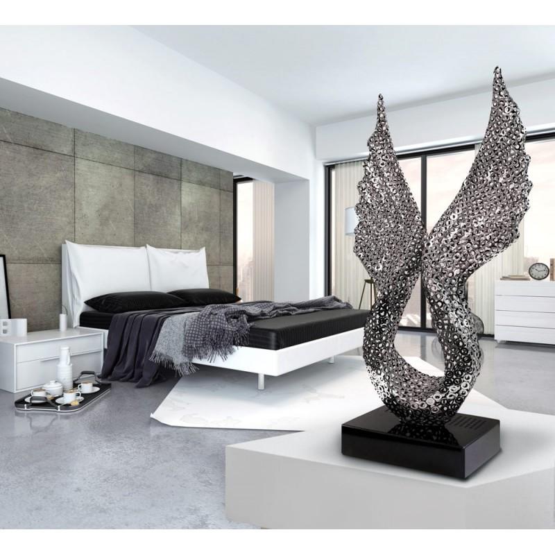 Diseño de escultura decorativa de la estatua embarazada Bluetooth ANGELA WINGS en aluminio (plata) - image 43063