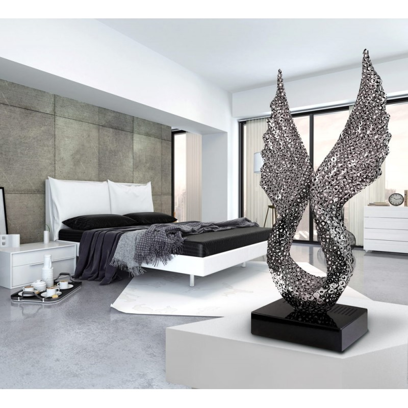 Statue decorative sculpture design pregnant Bluetooth ANGELA WINGS in Aluminium (Silver) - image 43063