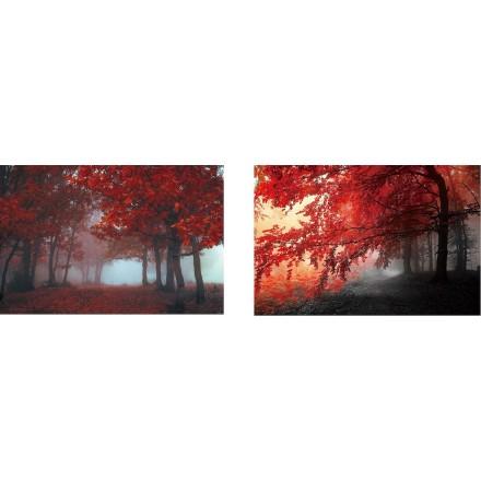 Lote de 2 mesas sobre vidrio ARBRE (90 x 60 cm) (rojo)