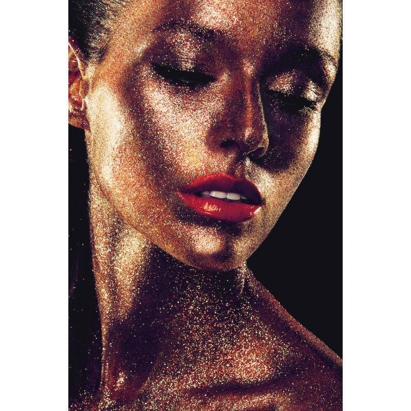 Tableau sur verre VISAGE DE FEMME (80 x 120 cm) (doré) - image 43095