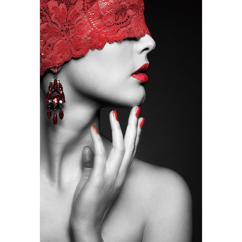 Tavolo su vetro EYES BANDES (80 x 120 cm) (rosso, nero) - image 43097