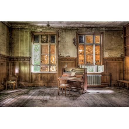 Tavolo su vetro PIANO VINTAGE (120x80 cm) (marrone)
