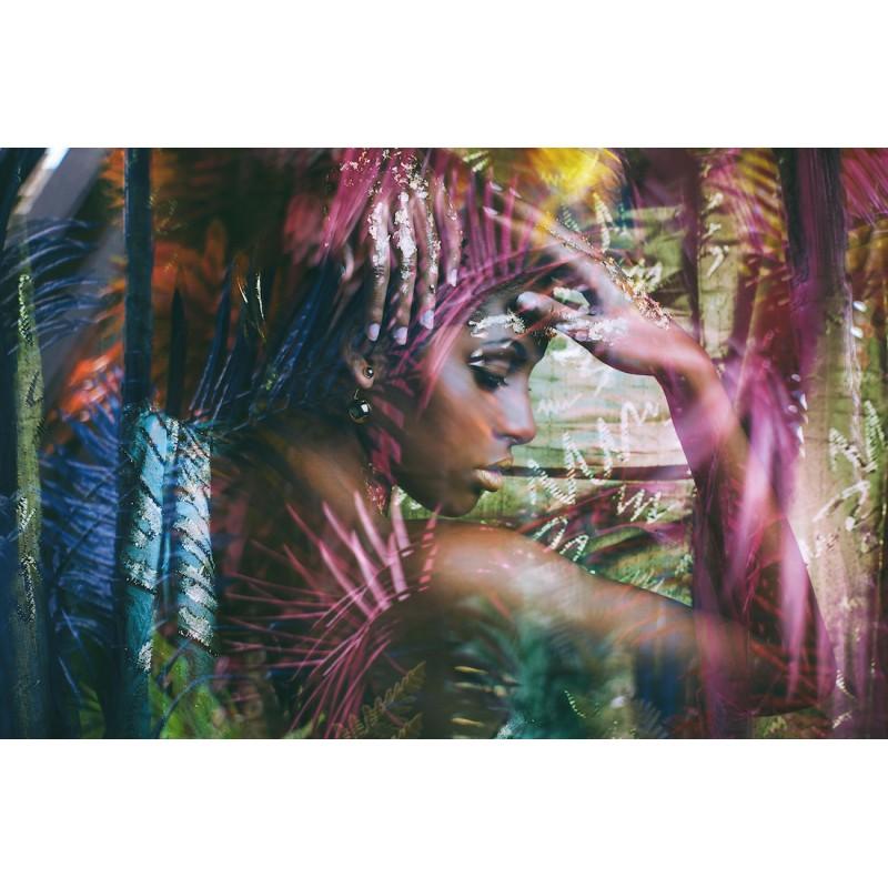 Tableau sur verre FEMME EXOTIQUE (120x80 cm) (violet) - image 43105
