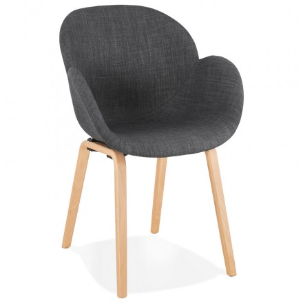Scandinavian design chair with CALLA armrests in natural-coloured foot fabric (anthracite grey)