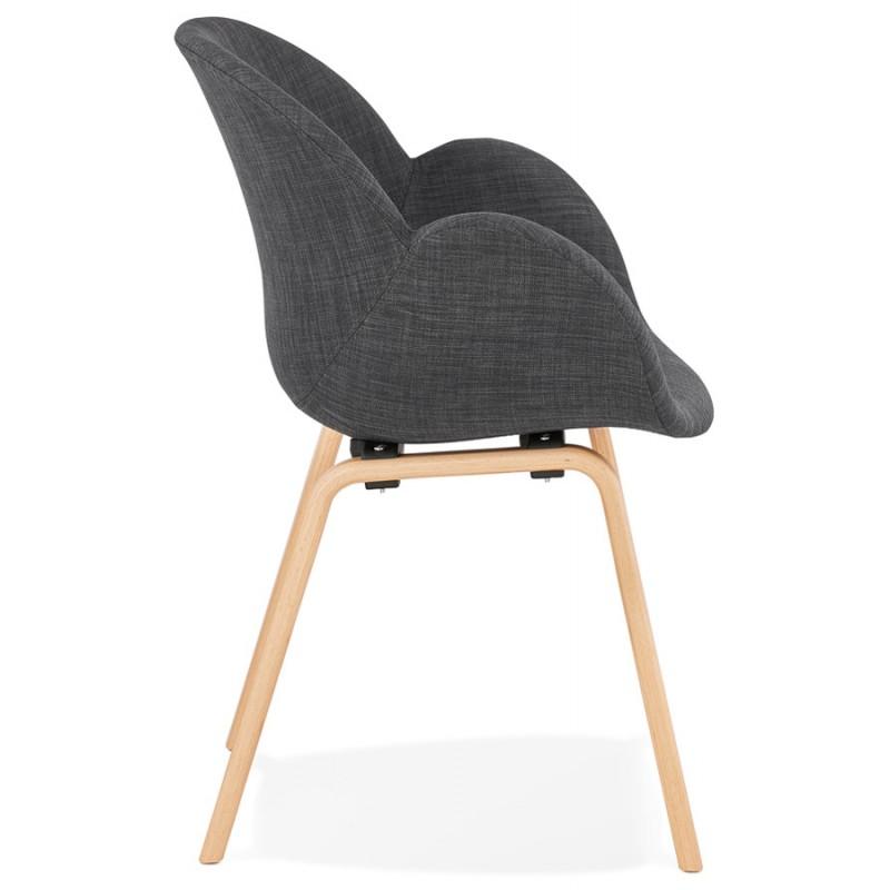 Sedia di design scandinavo con braccioli CALLA in tessuto naturale per piedi (grigio antracite) - image 43108