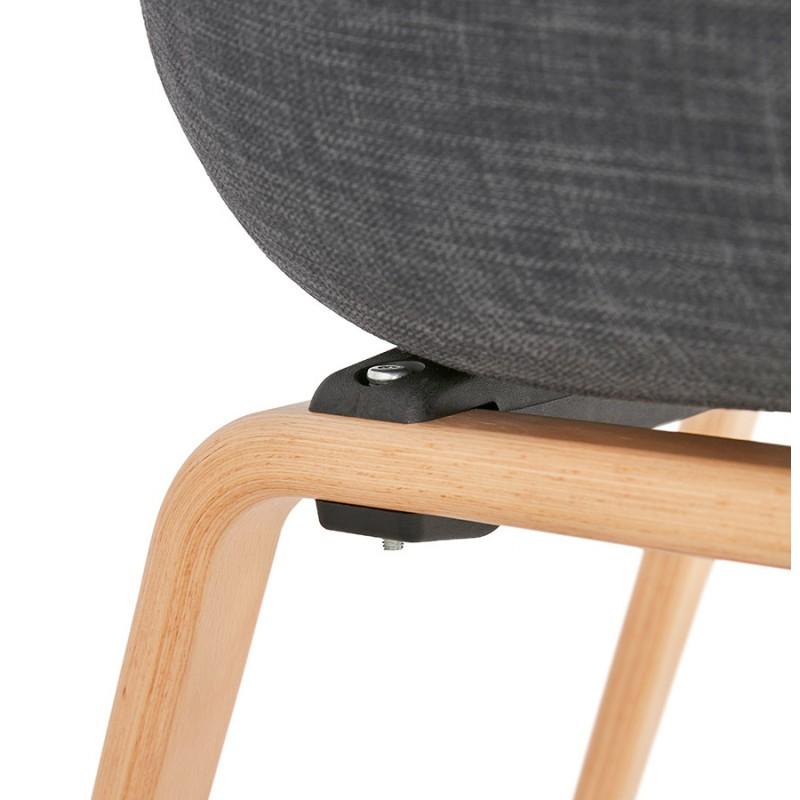 Chaise design scandinave avec accoudoirs CALLA en tissu pieds couleur naturelle (gris anthracite) - image 43114