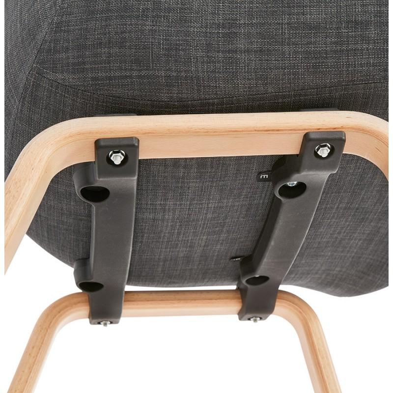 Chaise design scandinave avec accoudoirs CALLA en tissu pieds couleur naturelle (gris anthracite) - image 43115