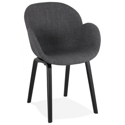 Chaise design scandinave avec accoudoirs CALLA en tissu pieds couleur noire (gris anthracite)