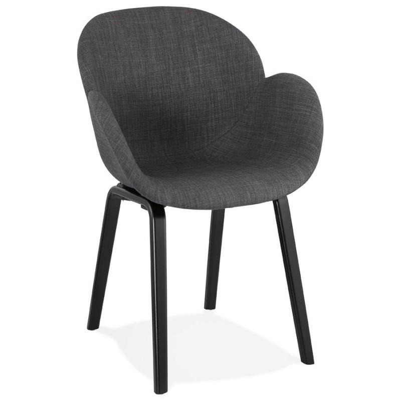Chaise design scandinave avec accoudoirs CALLA en tissu pieds couleur noire (gris anthracite) - image 43120