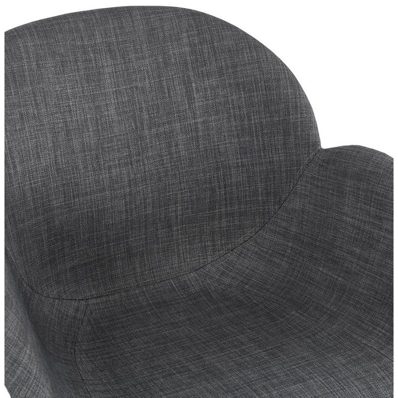 Chaise design scandinave avec accoudoirs CALLA en tissu pieds couleur noire (gris anthracite) - image 43125