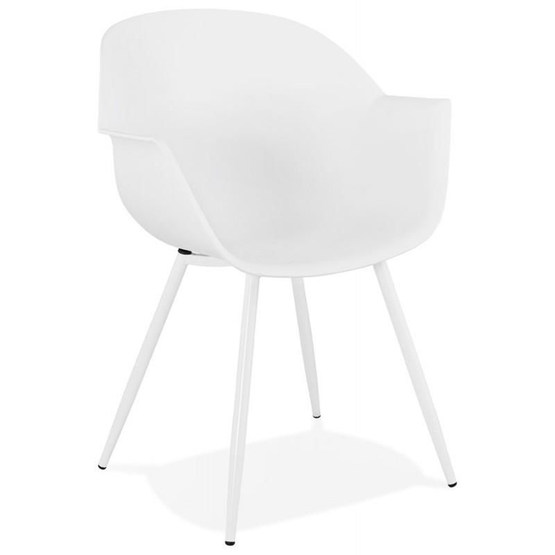 Chaise design scandinave avec accoudoirs COLZA en polypropylène (blanc)