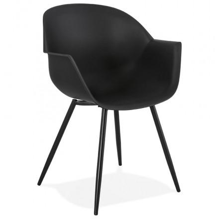 Skandinavischer Designstuhl mit COLZA Armlehnen aus Polypropylen (schwarz)