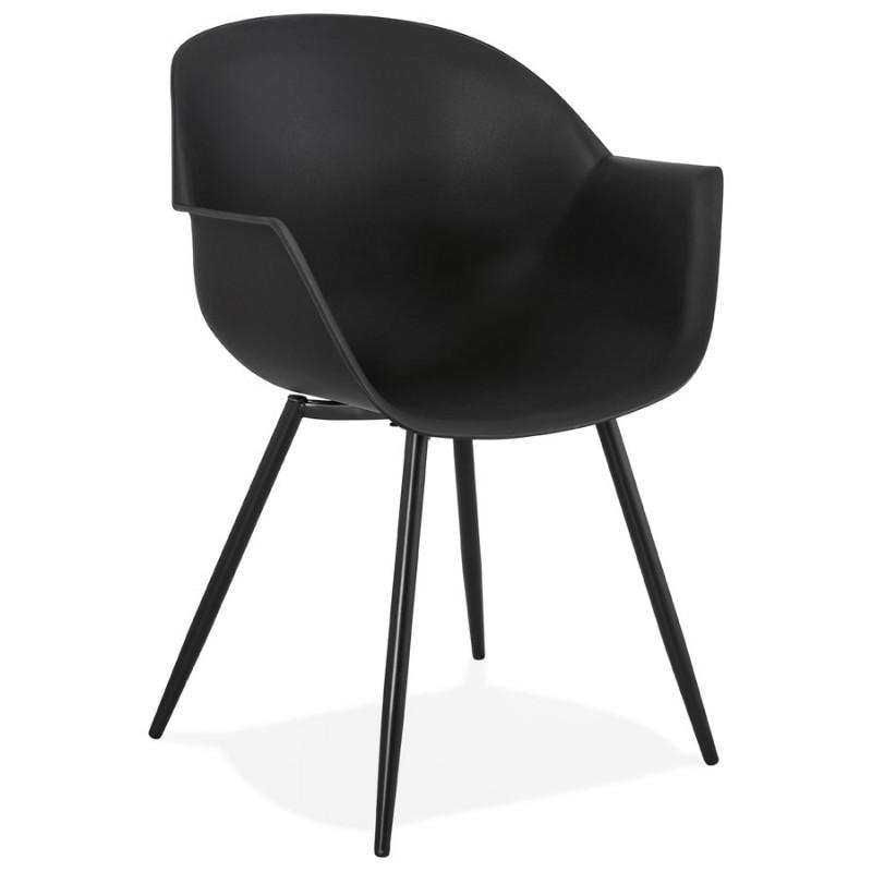 Chaise design scandinave avec accoudoirs COLZA en polypropylène (noir)