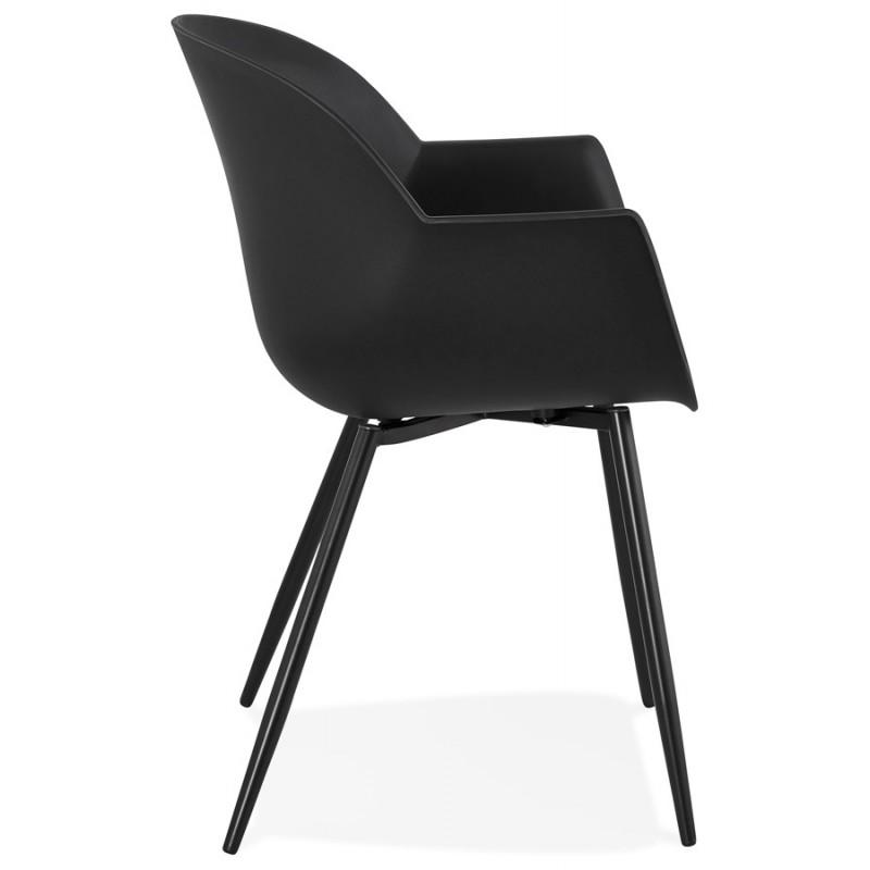 Chaise design scandinave avec accoudoirs COLZA en polypropylène (noir) - image 43152