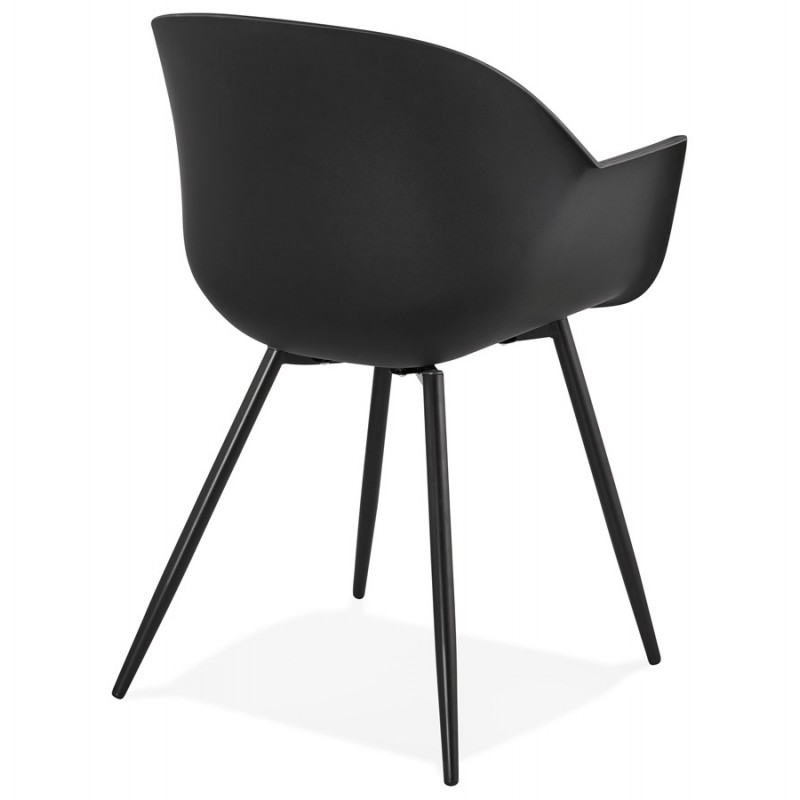Chaise design scandinave avec accoudoirs COLZA en polypropylène (noir) - image 43153