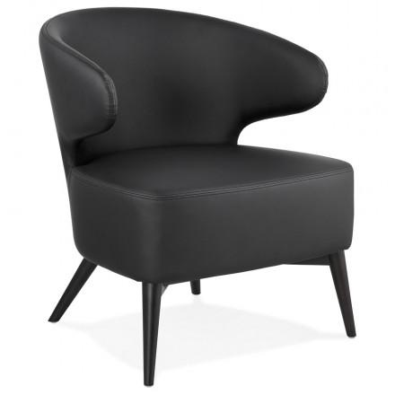Fauteuil design  YASUO en polyuréthane pieds bois couleur noire (noir)