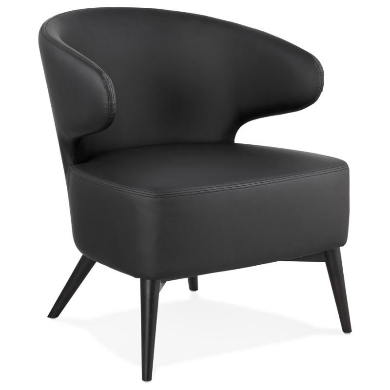Fauteuil design  YASUO en polyuréthane pieds bois couleur noire (noir) - image 43175