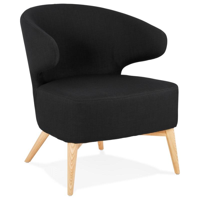 Fauteuil design YASUO en tissu pieds bois couleur naturelle (noir) - image 43187