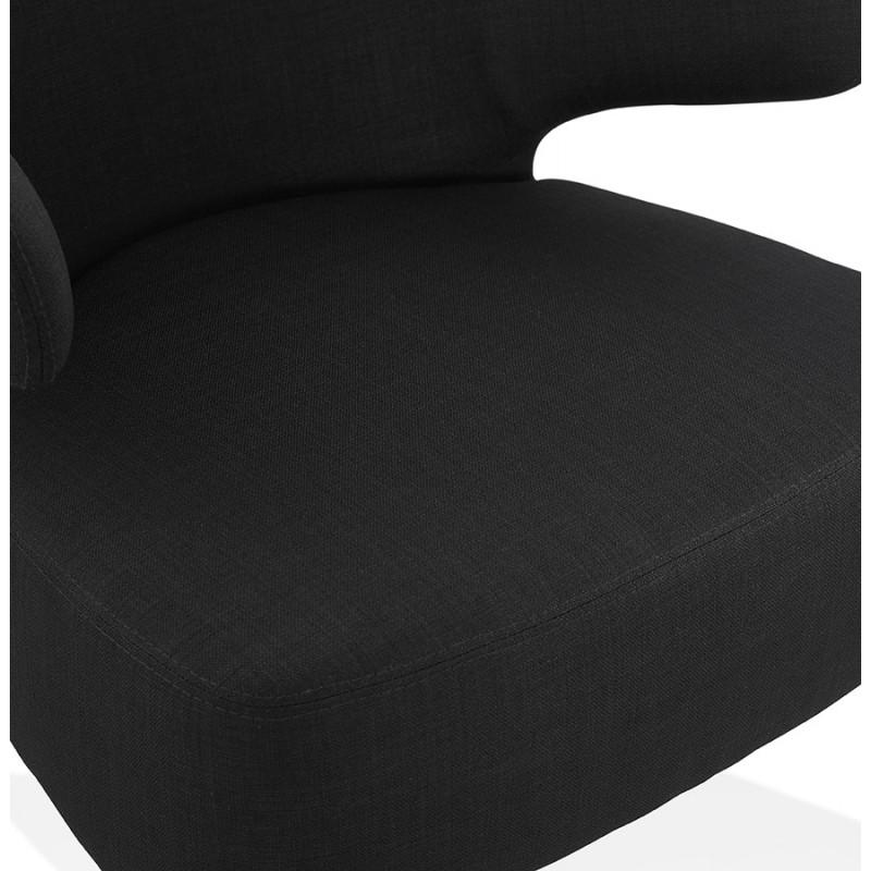 Fauteuil design YASUO en tissu pieds bois couleur naturelle (noir) - image 43192