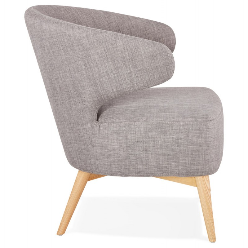 YASUO design chair in natural-coloured wooden foot fabric (light grey) - image 43202