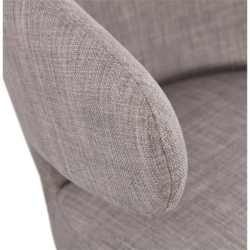 YASUO design chair in natural-coloured wooden foot fabric (light grey) - image 43207