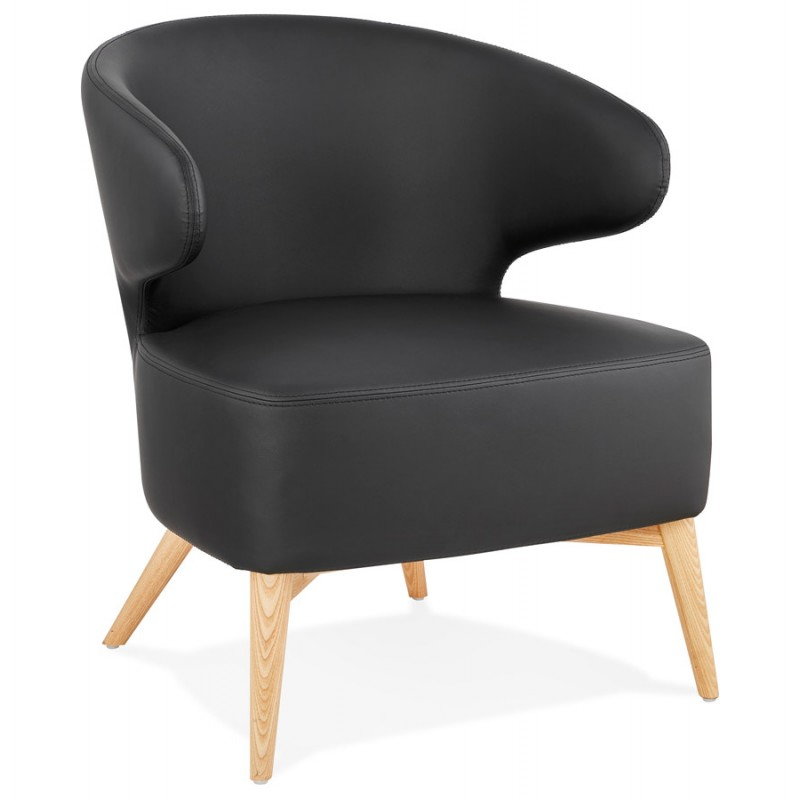 YASUO design chair in polyurethane feet wood natural color (black) - image 43211