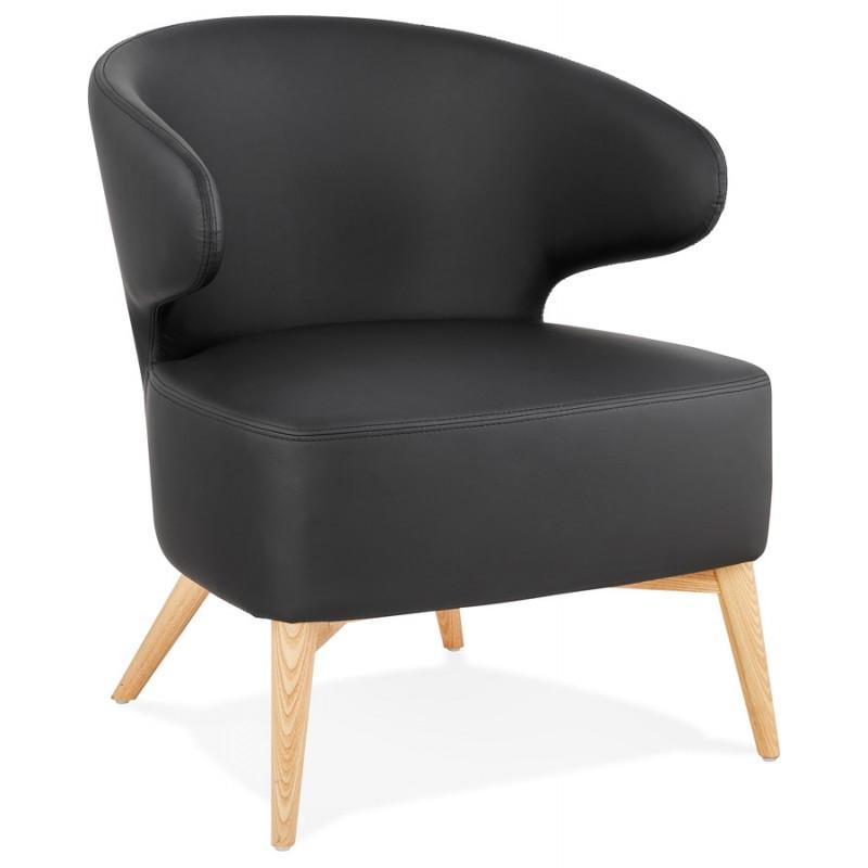 Fauteuil design YASUO en polyuréthane pieds bois couleur naturelle (noir) - image 43211
