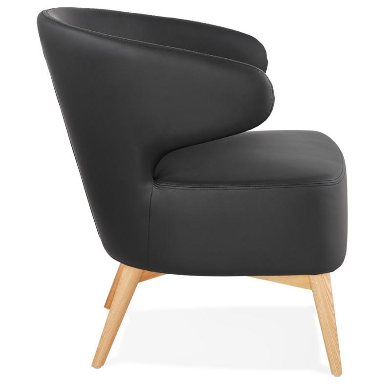 Fauteuil design YASUO en polyuréthane pieds bois couleur naturelle (noir) - image 43213