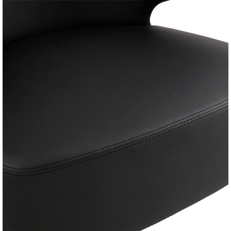 Fauteuil design YASUO en polyuréthane pieds bois couleur naturelle (noir) - image 43218
