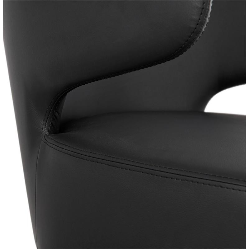 Fauteuil design YASUO en polyuréthane pieds bois couleur naturelle (noir) - image 43221