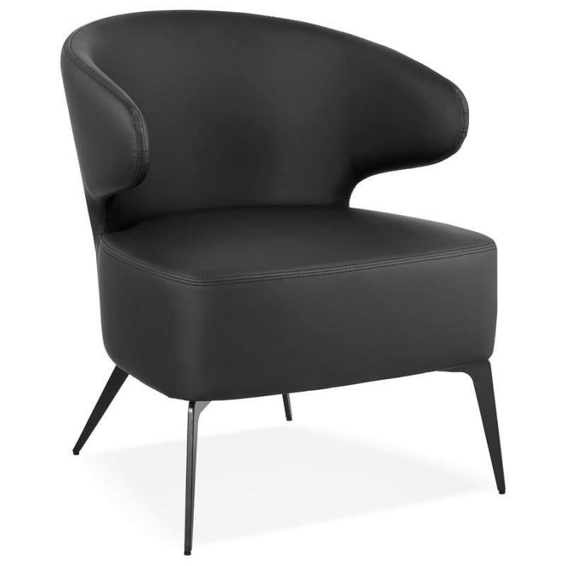 Fauteuil design YASUO en polyuréthane pieds métal couleur noire (noir) - image 43248
