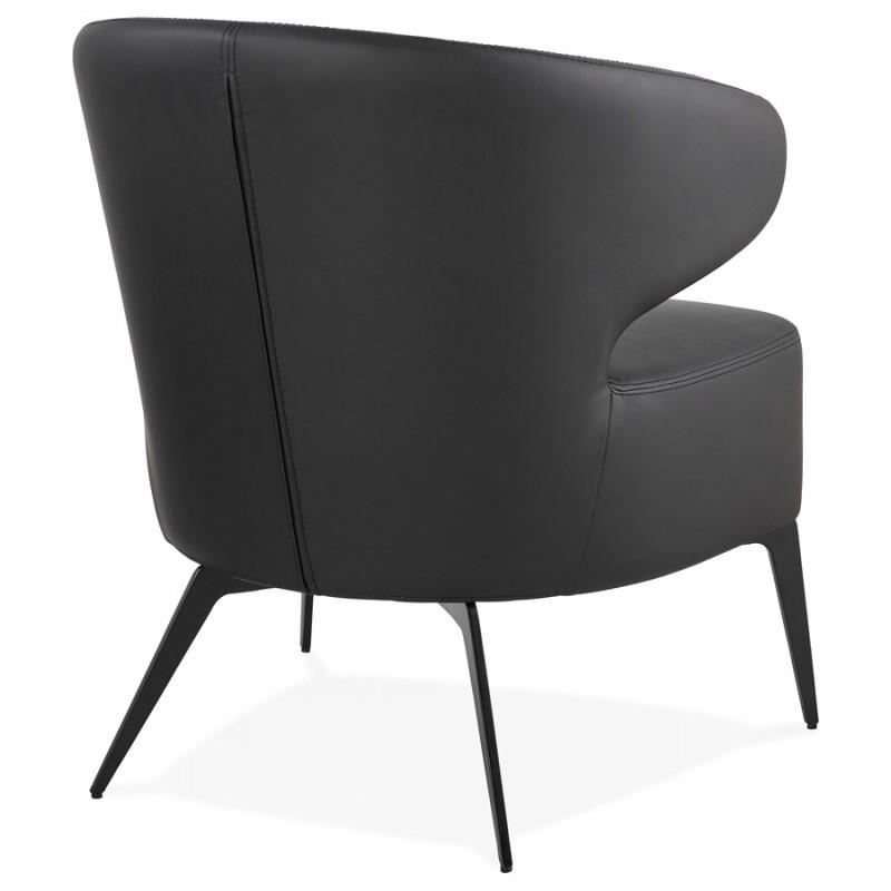 Fauteuil design YASUO en polyuréthane pieds métal couleur noire (noir) - image 43251
