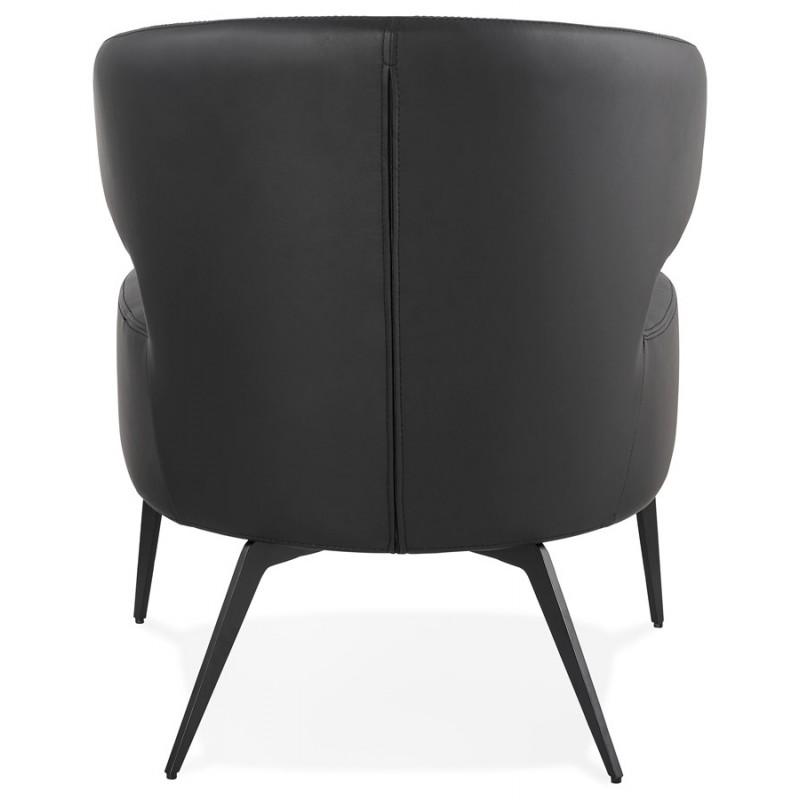 Fauteuil design YASUO en polyuréthane pieds métal couleur noire (noir) - image 43252