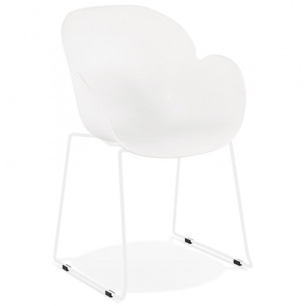 CIRSE Designstuhl aus Polypropylen weiß Metallfüße (weiß)