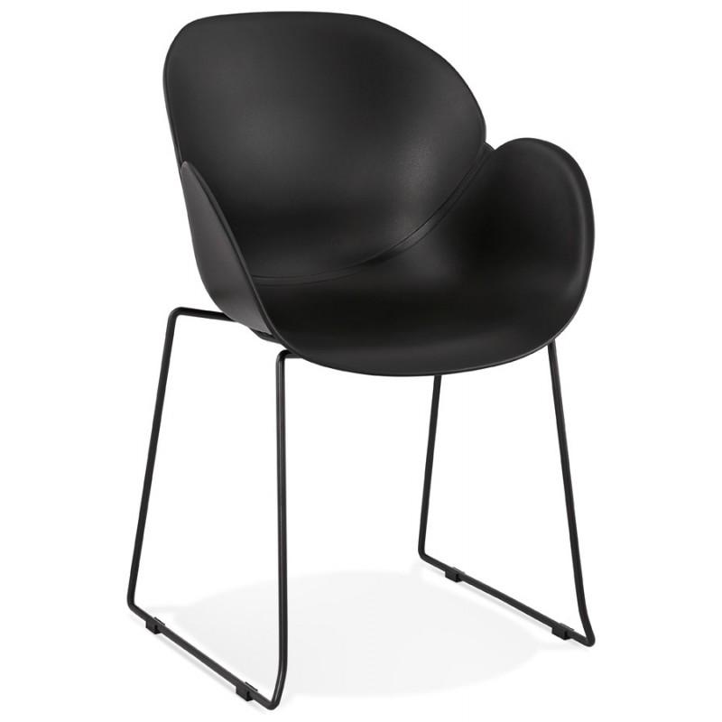 CIRSE Designstuhl aus Polypropylen schwarz Metallfüße (schwarz)