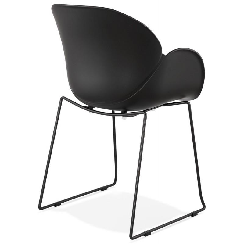 Chaise design CIRSE en polypropylène pieds métal couleur noire (noir) - image 43274