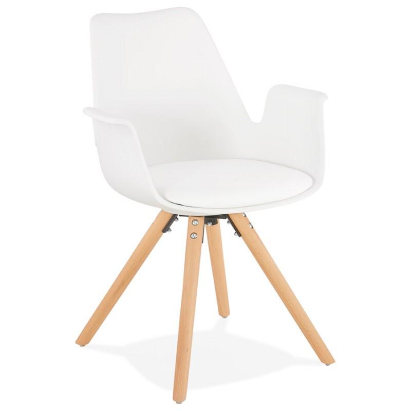 Chaise design scandinave avec accoudoirs ARUM pieds bois couleur naturelle (blanc)