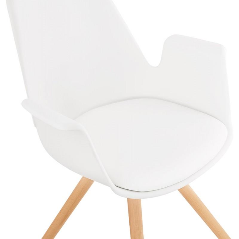 Skandinavischer Designstuhl mit ARUM Füßen naturfarbenen Holzarmlehnen (weiß) - image 43287