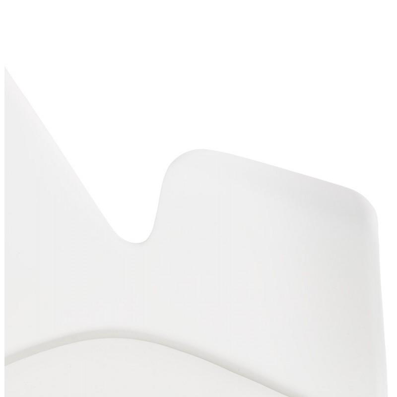 Chaise design scandinave avec accoudoirs ARUM pieds bois couleur naturelle (blanc) - image 43290