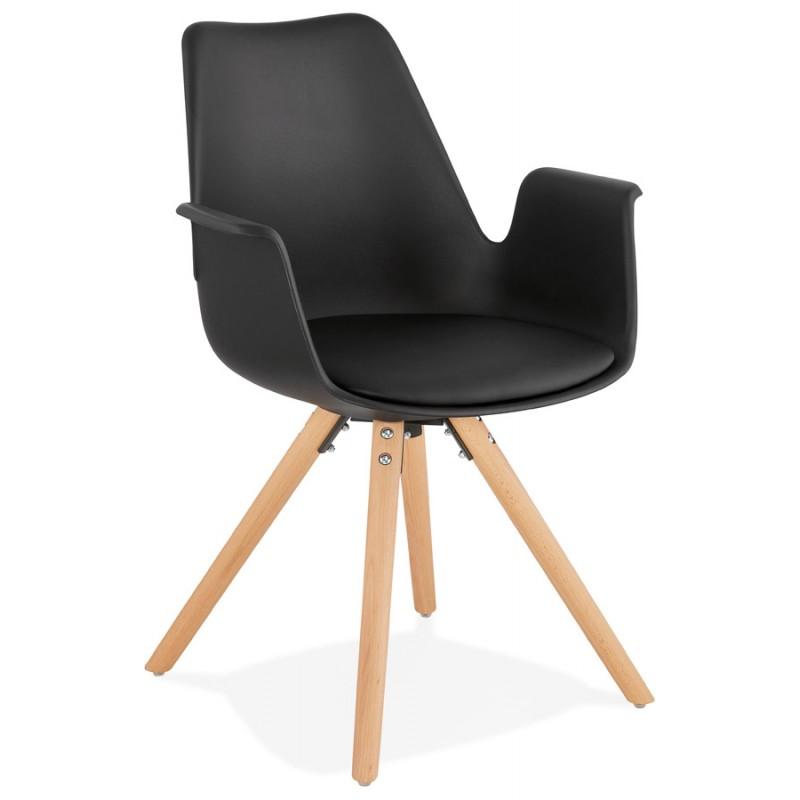 Chaise design scandinave avec accoudoirs ARUM pieds bois couleur naturelle (noir) - image 43294