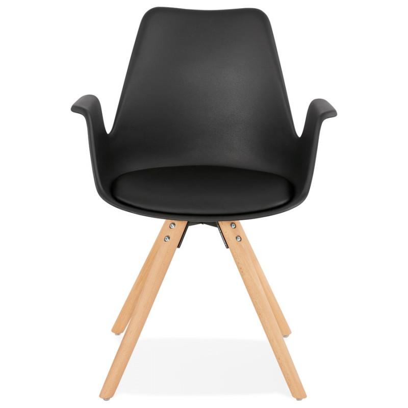 Chaise design scandinave avec accoudoirs ARUM pieds bois couleur naturelle (noir) - image 43295