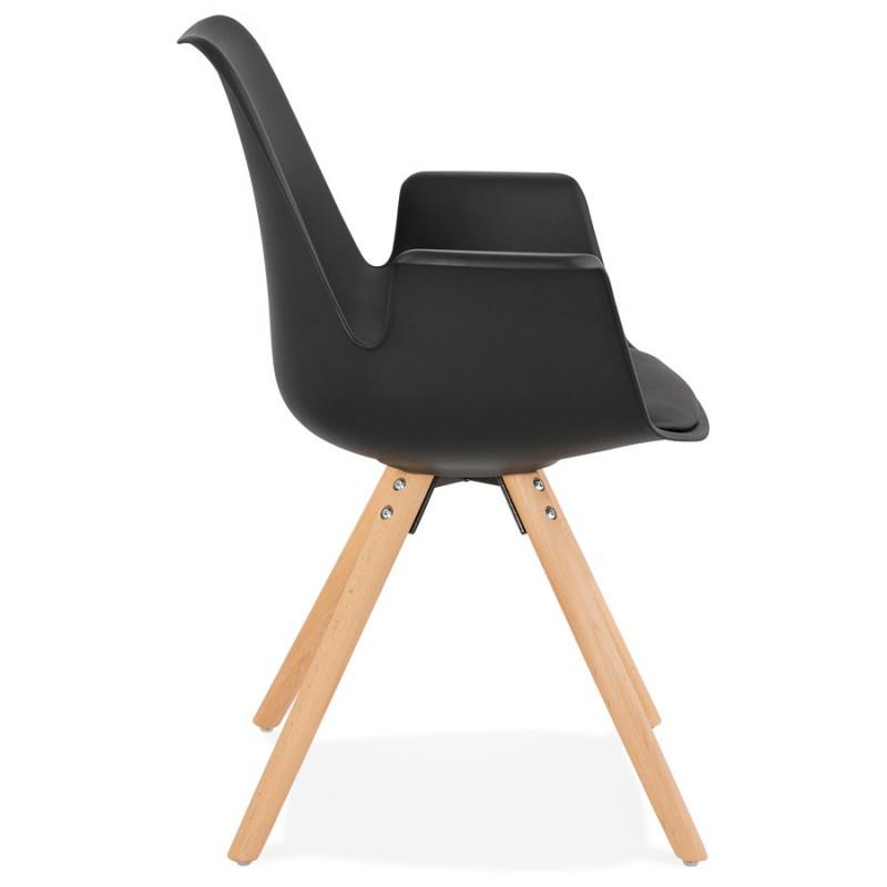 Skandinavischer Designstuhl mit ARUM Füßen naturfarbenen Holzfuß unruhig (schwarz) - image 43296