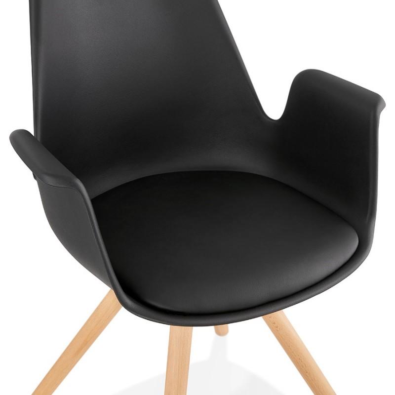 Chaise design scandinave avec accoudoirs ARUM pieds bois couleur naturelle (noir) - image 43299