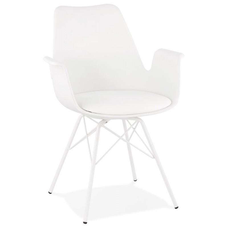 Chaise design industrielle avec accoudoirs ORCHIS en polypropylène (blanc) - image 43306