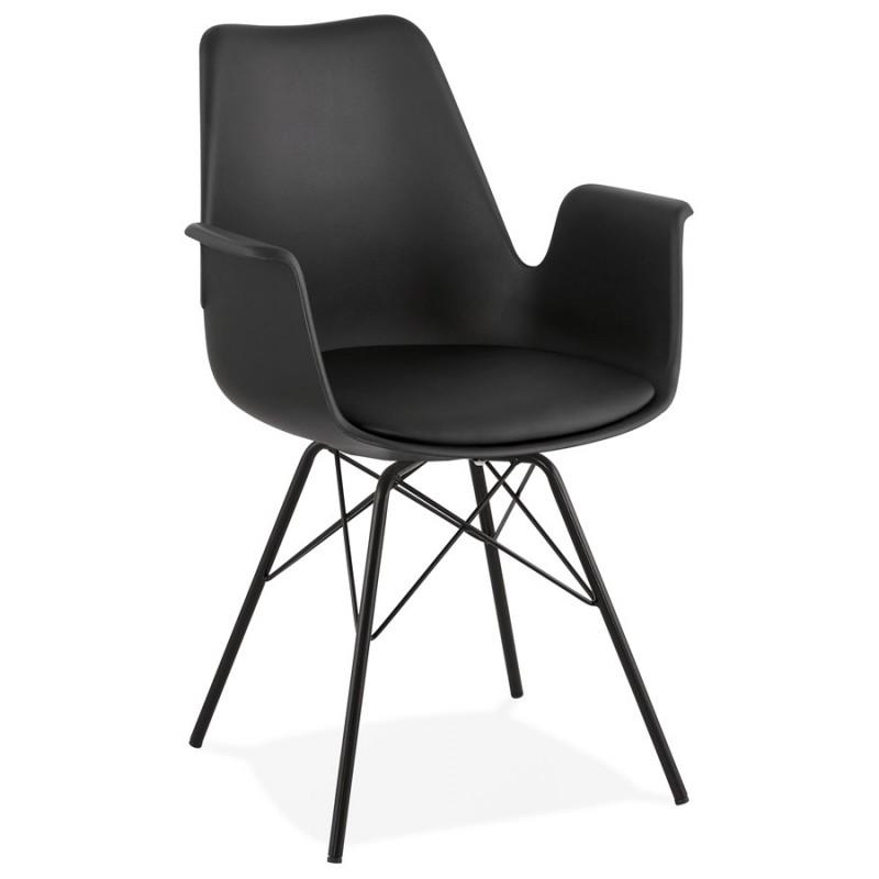 Silla de diseño industrial con apoyabrazos ORCHIS en polipropileno (negro)