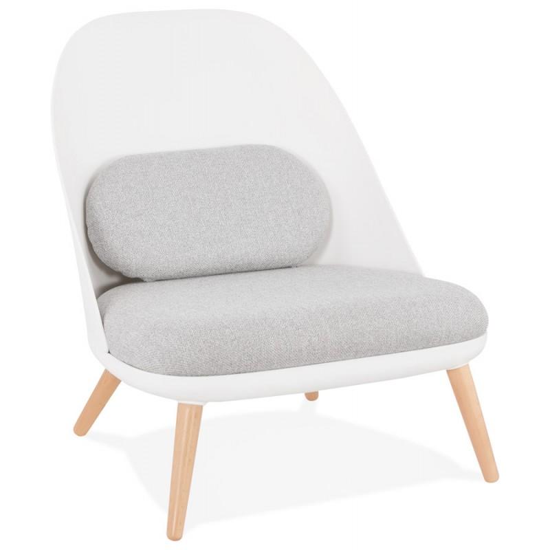 Fauteuil lounge design scandinave AGAVE (blanc, gris clair)
