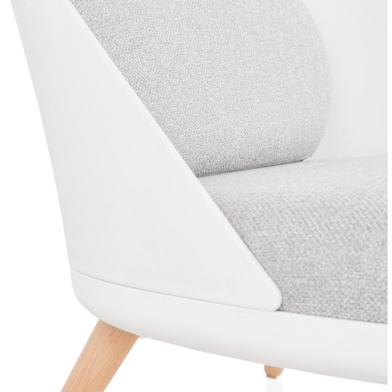Fauteuil lounge design scandinave AGAVE (blanc, gris clair) - image 43333