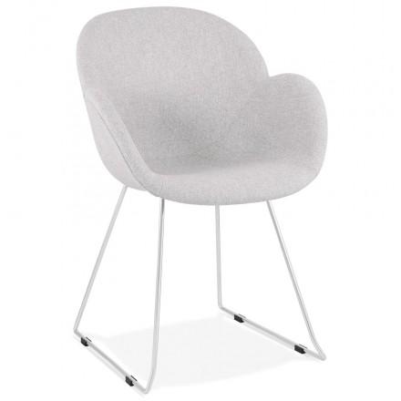 Chaise design pied effilé ADELE en tissu (gris clair)